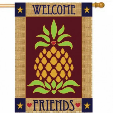 Primitive Pineapple Burlap House Flag