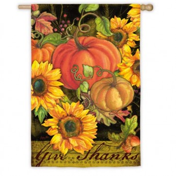 Pumpkin and Sunflowers House Flag
