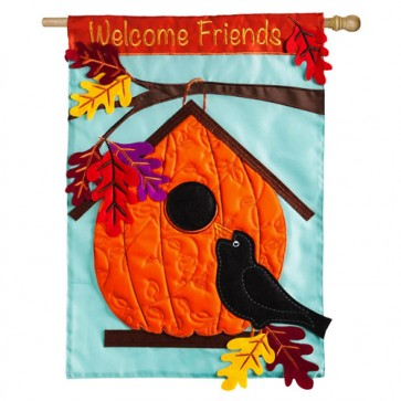 Pumpkin Birdhouse House Flag