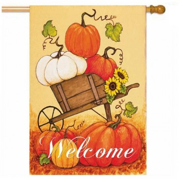 Pumpkin Cart Fall House Flag