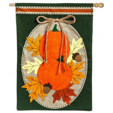 Pumpkin Duo Burlap House Flag