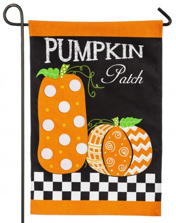 Pumpkin Patch Burlap Fall Garden Flag