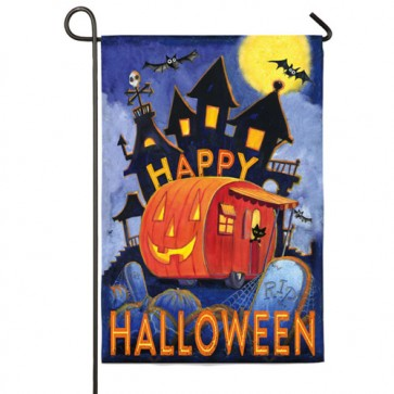 Pumpkin Trailer Garden Flag