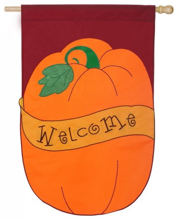 Pumpkin Welcome House Flag