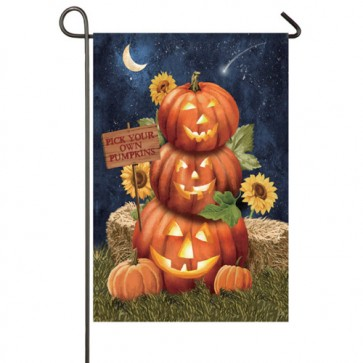 Pumpkins this Way Garden Flag (Two Flags in One)