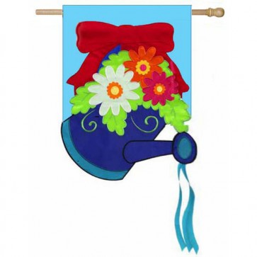 Red Bow Watering Can House Flag