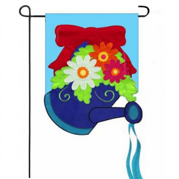 Red Bow Watering Can Garden Flag