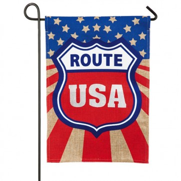 Route USA Burlap Garden Flag