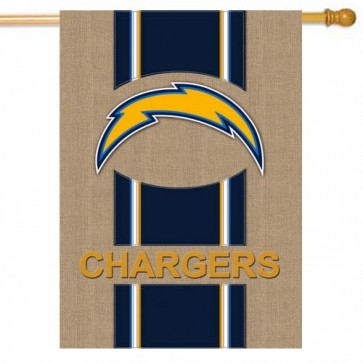 Chargers Burlap House Flag