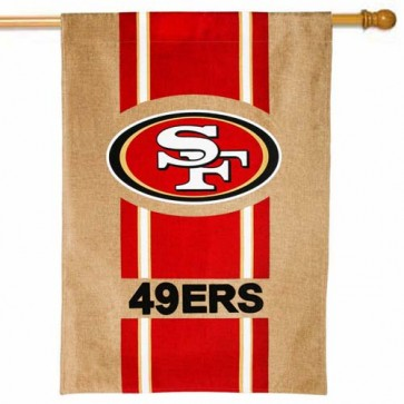 San Francisco 49ers Burlap House Flag