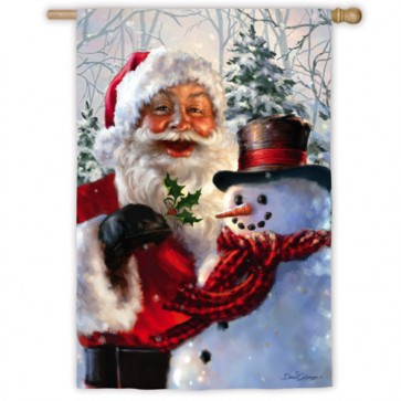 Santa and Frosty House Flag