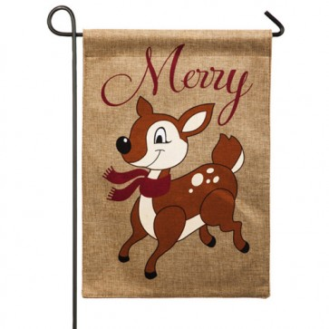 Santa's Helper Burlap Garden Flag