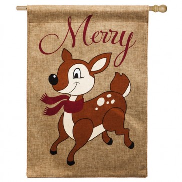Santa's Helper Burlap House Flag
