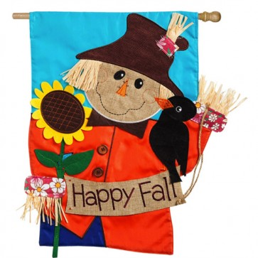 Scarecrow Happy Fall House flag