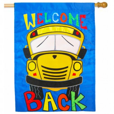Welcome Back School Bus Fall House Flag