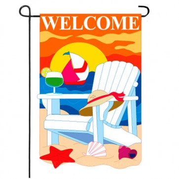 Seaside Summer Garden Flag