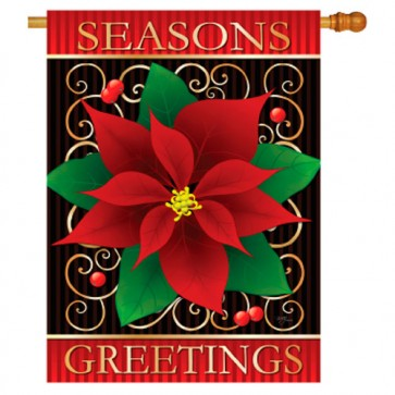 Season's Greetings Poinsettia Christmas House Flag