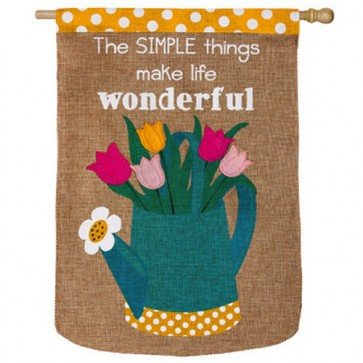Simple Things Burlap House Flag