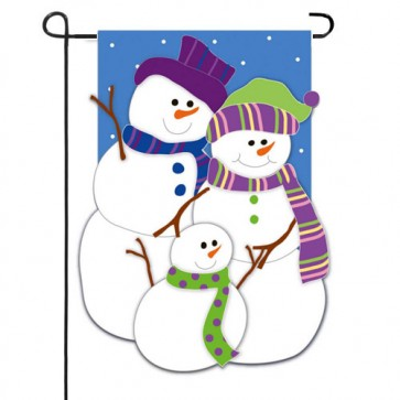 Snow Biz Family Garden Flag