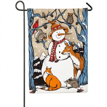 Snow Buddies Burlap Winter Garden Flag