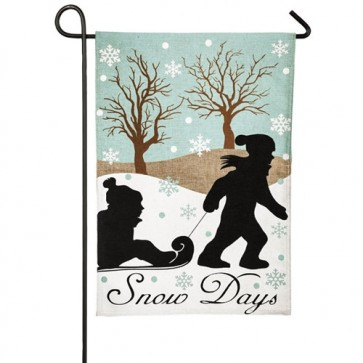Snow Day Burlap Winter Garden Flag
