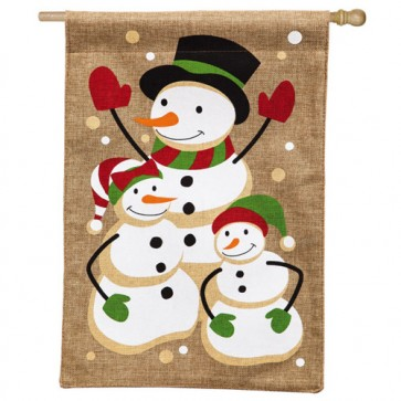 Snow Family Burlap House Flag