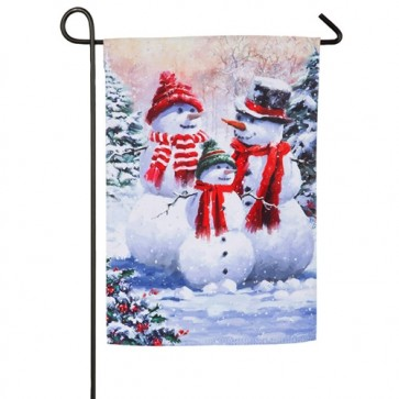 Snow Family Winter Garden Flag