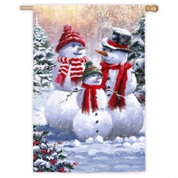 Snow Family Winter House Flag