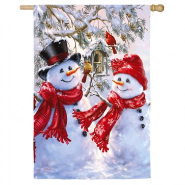 Snow Sweethearts Winter House Flag