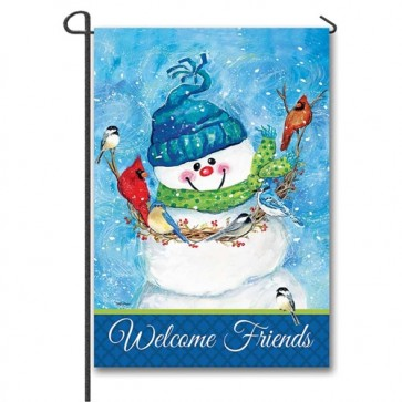Snowman and Friends Garden Flag