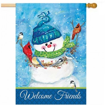 Snowman and Friends House Flag