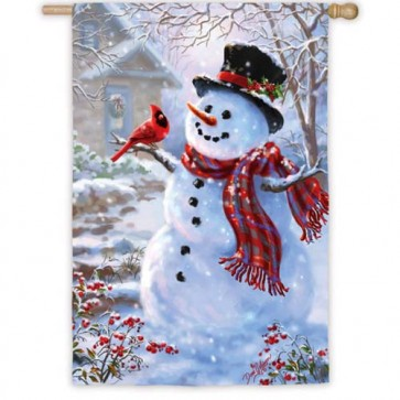Snowman and Feathered Friend House Flag