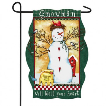 Snowmen Melt Your Heart Garden Flag