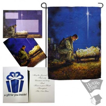 Soldier at Manger Garden Flag (EverGreetings Set)