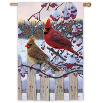 Songbirds Winter Cardinals House Flag