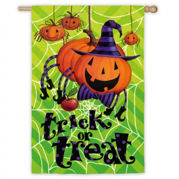 Spider Pumpkin Halloween House Flag