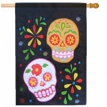 Sugar Skulls Happy Halloween House Flag