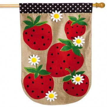 Summer Berries Burlap House Flag