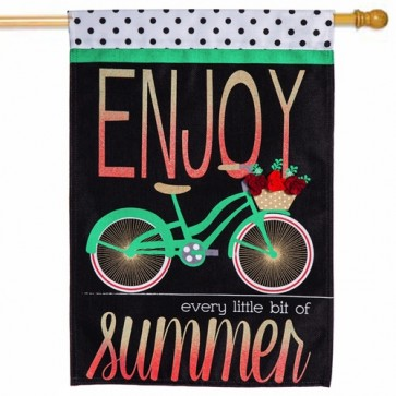 Summer Bicycle Burlap House Flag