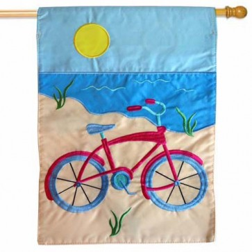 Summer Bicycle House Flag