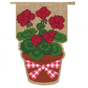 Burlap Summer Geranium House Flag