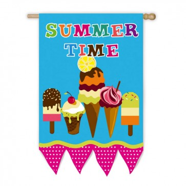 Summertime Ice Cream House Flag