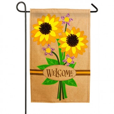 Sunflower Bouquet Burlap Garden Flag