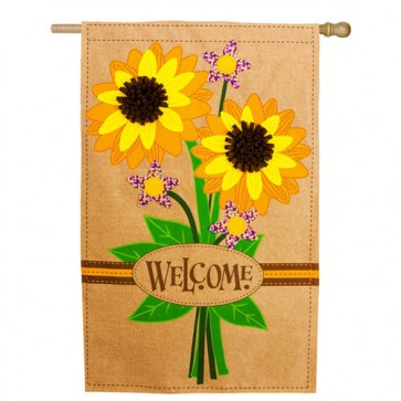 Sunflower Bouquet Burlap House Flag