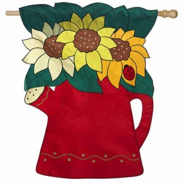 Sunflower Watering Can House Flag