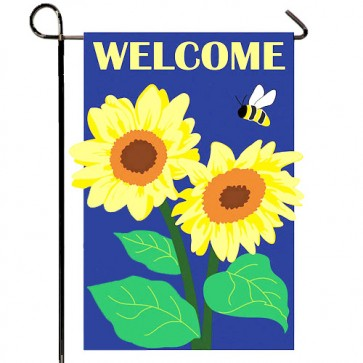 Sunflower Welcome with Bee  Garden Flag