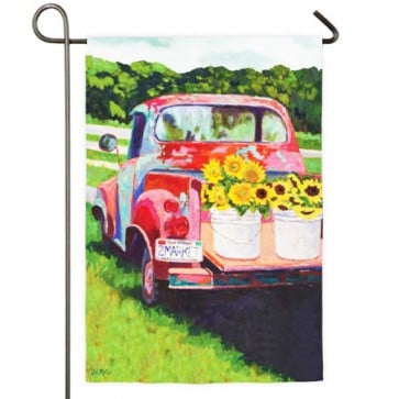 Sunflowers on a Truck Summer Garden Flag