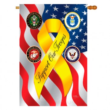 Support Our Troops Freedom Patriotic House Flag