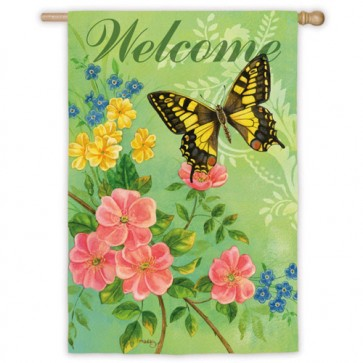 Swallowtail Butterfly Welcome House Flag