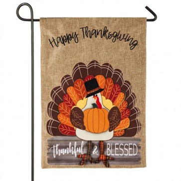 Thankful and Blessed Turkey Burlap Garden Flag